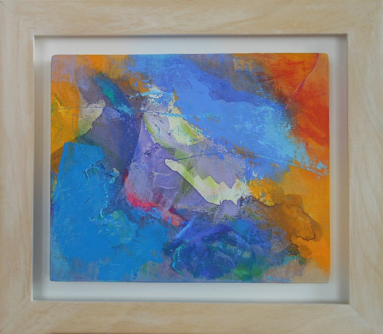 Colourful acrylic abstract painting 'Blue Remembered Hills' by Stella Hidden