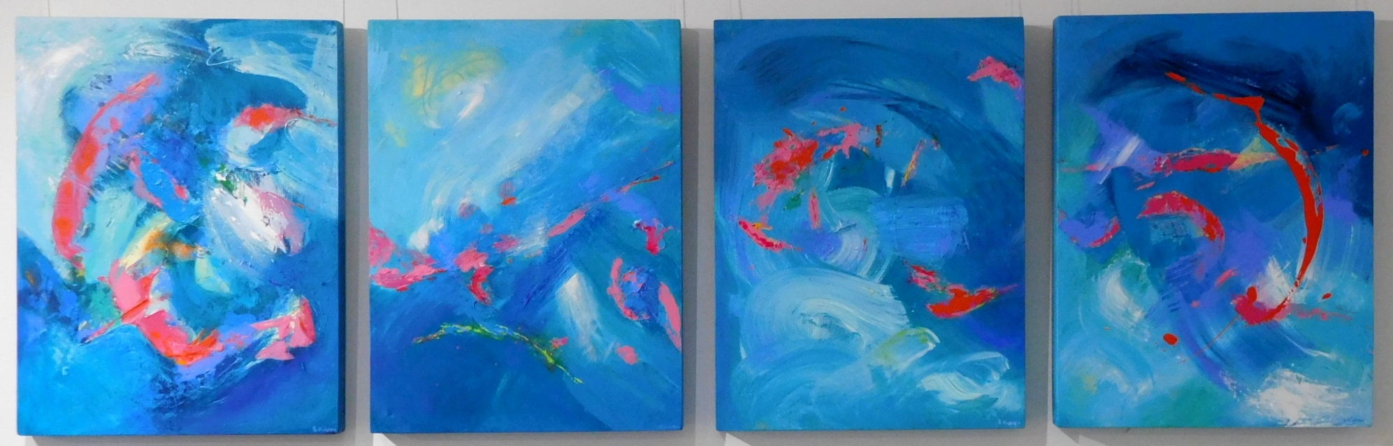 Colourful acrylic abstract paintings 'Music of the Reef' by Stella Hidden