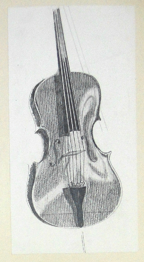 Stella Hidden, artist, sketch of cello