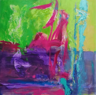 Colorful acrylic abstract painting 'On The Edge' by UK artist Stella Hidden